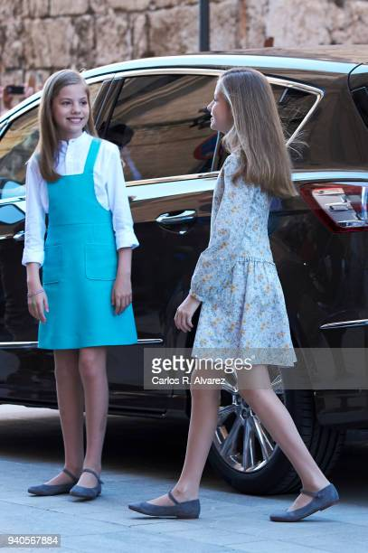 Princess Leonor of Spain and Princess Sofia of Spain attend the Easter mass on April 1 2018 in Palma de Mallorca Spain