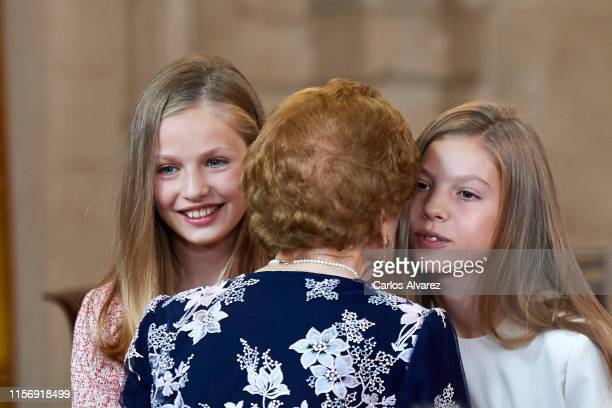 """Princess Leonor of Spain and Princess Sofia of Spain attend the """"Order of the Civil Merit"""" ceremony at the Royal Palace on June 19, 2019 in Madrid,..."""