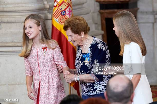 "Princess Leonor of Spain and Princess Sofia of Spain attend the ""Order of the Civil Merit"" ceremony at the Royal Palace on June 19, 2019 in Madrid,..."