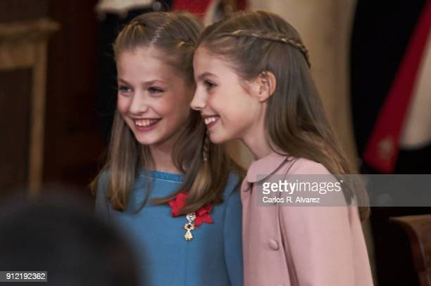 Princess Leonor of Spain and Princess Sofia of Spain attend the Order of Golden Fleece ceremony at the Royal Palace on January 30 2018 in Madrid...