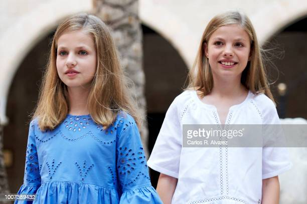 Princess Leonor of Spain and Princess Sofia of Spain pose for the photographers during the summer session at the Almudaina Palace on July 29 2018 in...