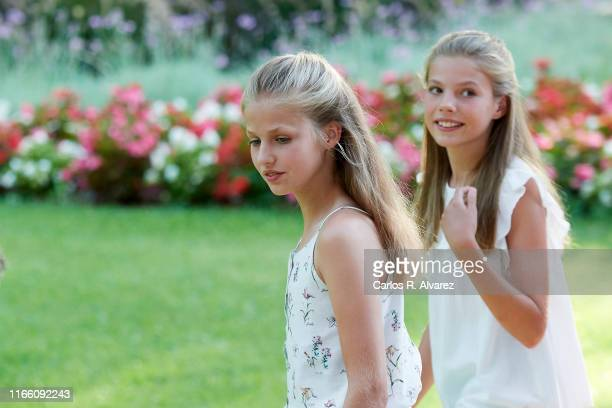 Princess Leonor of Spain and Princess Sofia of Spain pose for the photographers during the summer photocall at the Marivent Palace on August 04, 2019...