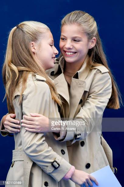 Princess Leonor of Spain and Princess Sofia of Spain visit Asiegu which has been honoured as the 2019 Best Asturian Village on October 19 2019 in...