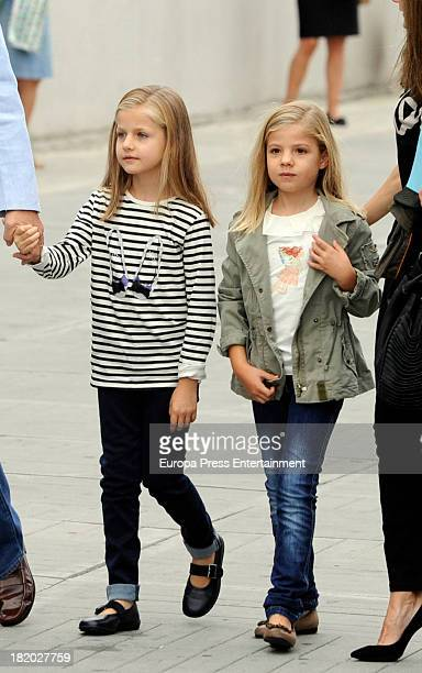 Princess Leonor of Spain and Princess Sofia of Spain visit King Juan Carlos of Spain at Quiron Hospital where Spain's King Juan Carlos underwent an...