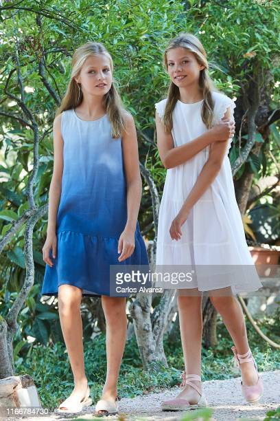 Princess Leonor of Spain and Princess Sofia of Spain visit 'Son Marroig' museum on August 08, 2019 in Palma de Mallorca, Spain.