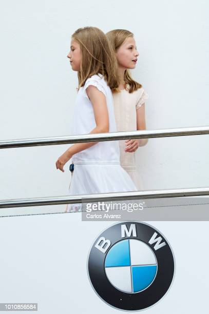 Princess Leonor of Spain and Princess Sofia of Spain visit the Royal Nautic Club the last day of the 37th Copa del Rey Mapfre sailing cup on August 4...