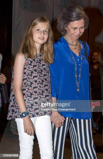Princess Leonor of Spain and Queen Letizia of Spain attend Ara Malikian's concert at Port Adriano on August 1 2018 in Palma de Mallorca Spain