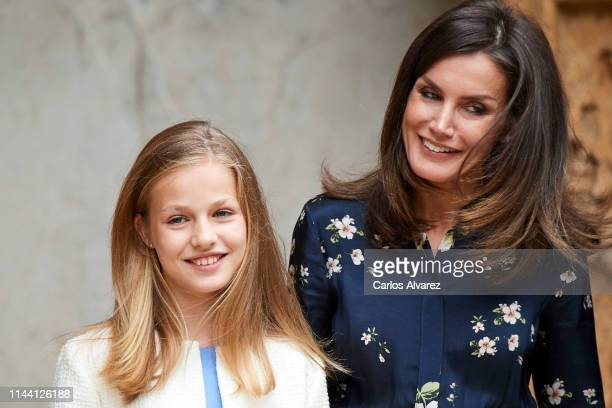 Princess Leonor of Spain and Queen Letizia of Spain attend the Easter Mass at the Cathedral of Palma de Mallorca on April 21 2019 in Palma de...