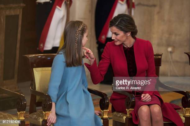 Princess Leonor of Spain and Queen Letizia of Spain attend the Order of Golden Fleece ceremony at the Royal Palace on January 30 2018 in Madrid Spain...