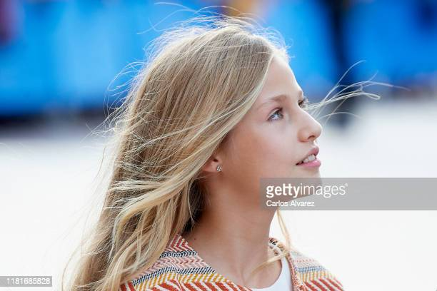 Princess Leonor of Spain arrives at Oviedo Cathedral ahead of the 'Princesa de Asturias Awards' 2019 on October 17 2019 in Oviedo Spain