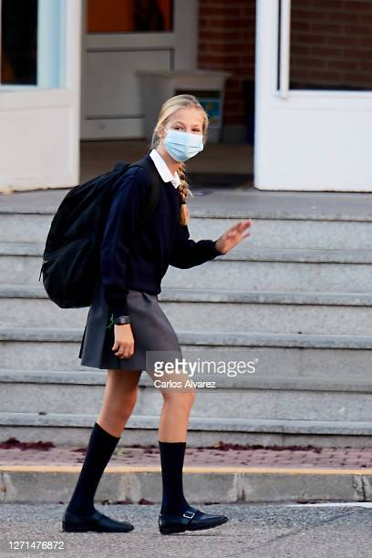 Princess Leonor of Spain arrives at the 'Santa Maria de los Rosales' School on the first day of school on September 09, 2020 in Madrid, Spain.