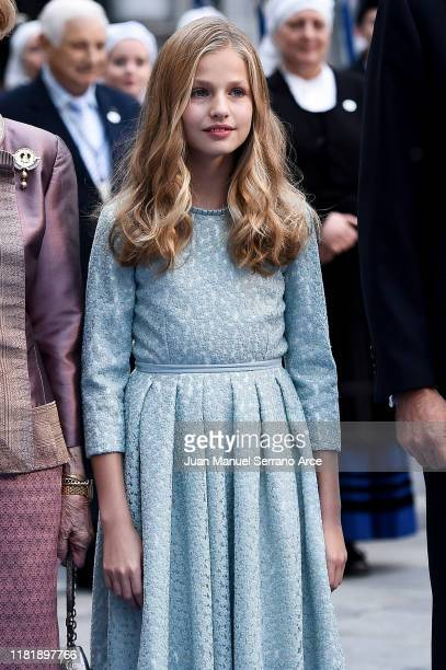 Princess Leonor of Spain arrives to the Campoamor Theatre ahead of the 'Princesa de Asturias' Awards Ceremony 2019 on October 18 2019 in Oviedo Spain