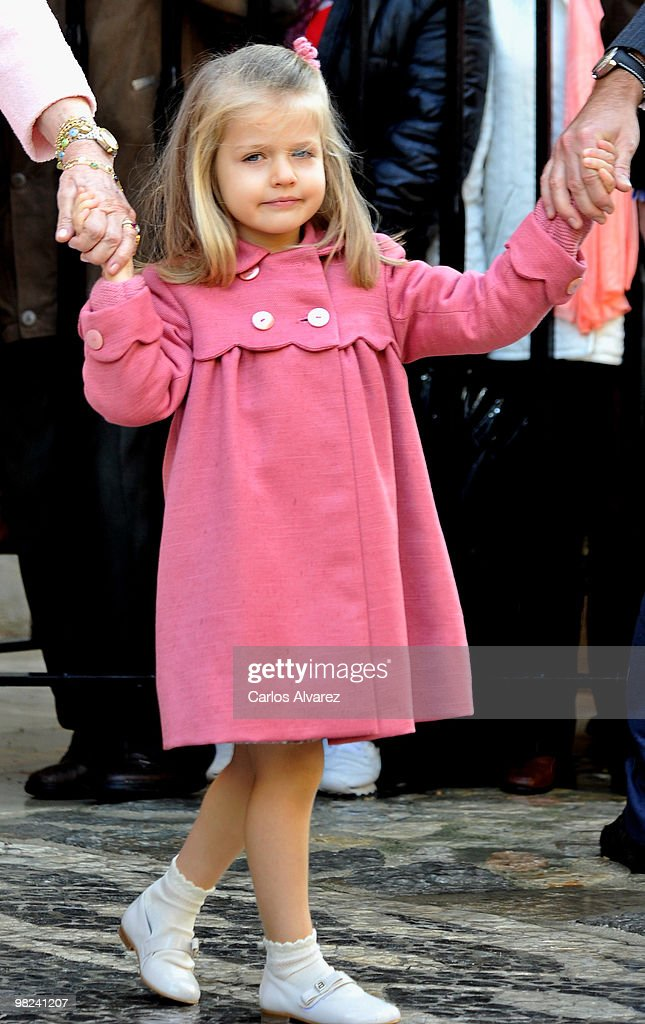 Princess Leonor of Spain attends Easter Mass at Palma de Mallorca Cathedral, on April 4, 2010 in Palma de Mallorca, Spain.