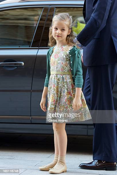 Princess Leonor of Spain attends Easter Mass at the Cathedral of Palma de Mallorca on March 31 2013 in Palma de Mallorca Spain