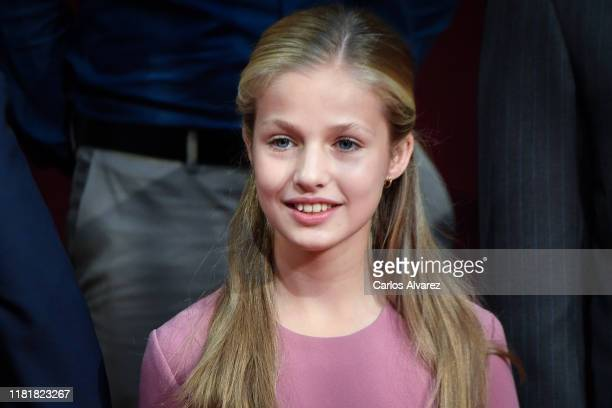 Princess Leonor of Spain attends several audiences to congratulate the winners at the Reconquista Hotel during the 'Princesa De Asturias' Awards 2019...