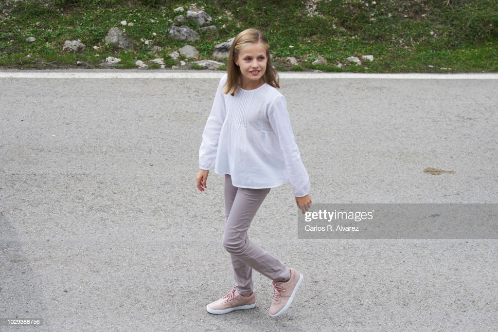 Princess Leonor of Spain attends the Centenary of the creation of the National Park of Covadonga's Mountain and the opening of the Princess of Asturias viewpoint at Lagos de Covadonga on September 8, 2018 in Cangas de Onis, Spain on September 8, 2018 in Covadonga, Spain.