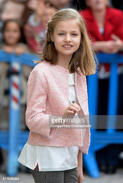 Princess Leonor of Spain attends the Easter Mass at the Cathedral of Palma de Mallorca o on March 27 2016 in Palma de Mallorca Spain