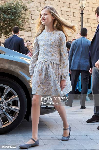 Princess Leonor of Spain attends the Easter mass on April 1 2018 in Palma de Mallorca Spain
