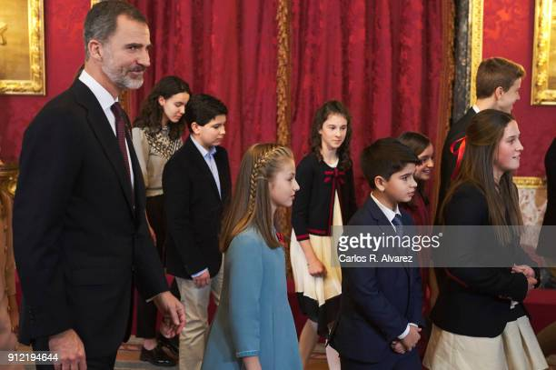 Princess Leonor of Spain attends the Order of Golden Fleece ceremony at the Royal Palace on January 30 2018 in Madrid Spain Today is King's Felipe...