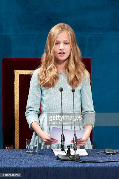 Princess Leonor of Spain attends the Princesa de Asturias Awards 2019 ceremony at the Campoamor Theater on October 18, 2019 in Oviedo, Spain.