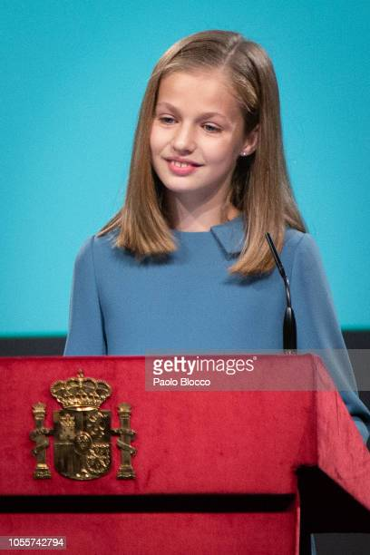 Princess Leonor of Spain attends the reading of the Spanish Constitution for the 40th anniversary of its approval by the Congress at the Cervantes...