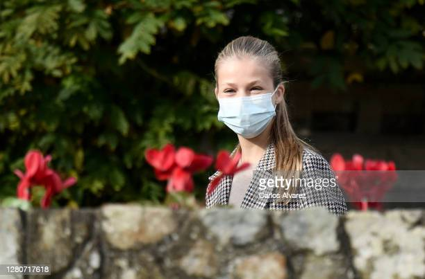 Princess Leonor of Spain during her visit to Somao, which has been honoured as the 2020 Best Asturian Village, with her parents King Felipe and Queen...