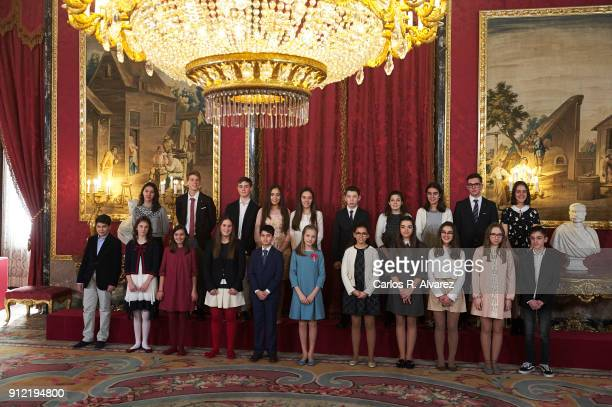 Princess Leonor of Spain greets children and winners of ÔQue Es un Rey Para TiÕ competition after they received one of Spain's highest honours the...