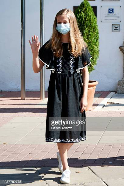 Princess Leonor of Spain is seen leaving from the Parador of Merida on July 23, 2020 in Merida, Spain. This trip is part of a royal tour that will...