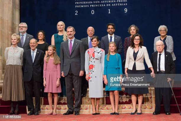 Princess Leonor of Spain, King Felipe of Spain, Queen Letizia of Spain and Princess Sofia of Spain attend several audiences to congratulate the...