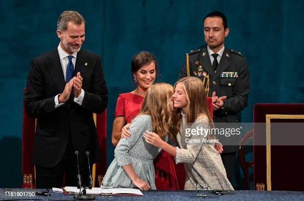 Princess Leonor of Spain King Felipe of Spain Queen Letizia of Spain and Princess Sofia of Spain attend the Princesa de Asturias Awards 2019 ceremony...