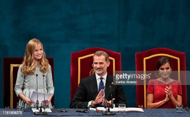 Princess Leonor of Spain, King Felipe of Spain, Queen Letizia of Spain and Princess Sofia of Spain attend the Princesa de Asturias Awards 2019...