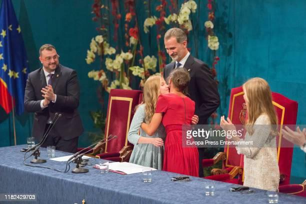 Princess Leonor of Spain, King Felipe of Spain, Queen Letizia of Spain and Princess Sofia of Spain during the Princesa de Asturias Awards 2019...