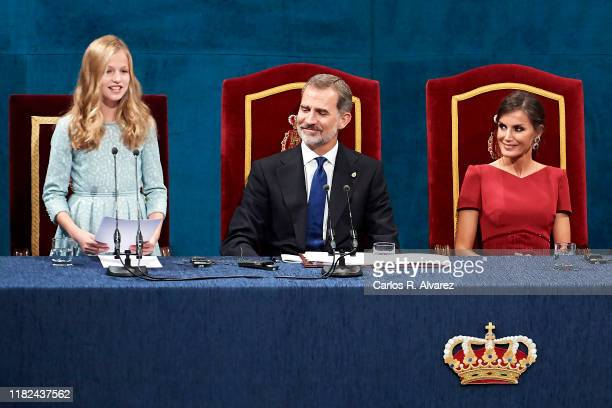 Princess Leonor of Spain, King Felipe VI of Spain and Queen Letizia of Spain and Princess Sofia of Spain attend the Princesa de Asturias Awards 2019...