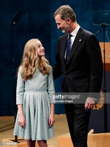 Princess Leonor of Spain, King Felipe VI of Spain during the Asturias Awards on October 18, 2019 in Oviedo Spain