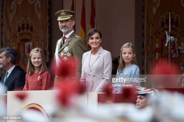 Princess Leonor of Spain King Felipe VI of Spain Queen Letizia of Spain and Princess Sofia of Spain attend the National Day Military Parade on...