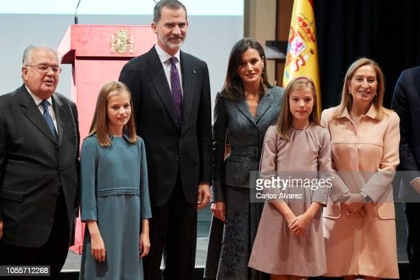 Princess Leonor of Spain King Felipe VI of Spain Queen Letizia of Spain and Princess Sofia of Spain attend the reading of the Spanish Constitution...