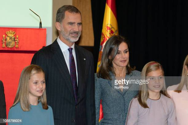 Princess Leonor of Spain, King Felipe VI of Spain, Queen Letizia of Spain and Princess Sofia of Spain attend the reading of the Spanish Constitution...
