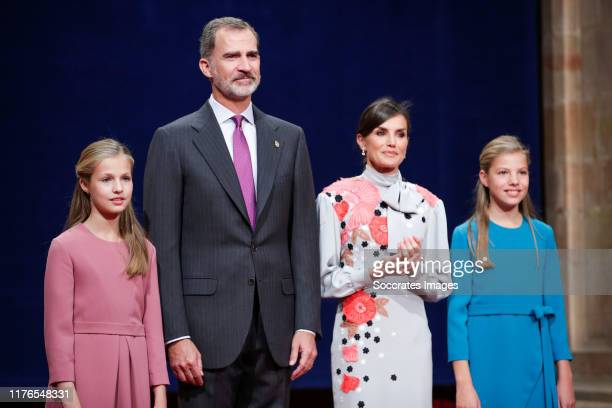 Princess Leonor of Spain, King Felipe VI of Spain, Queen Letizia of Spain, Princess Sofia of Spain during the Asturias Awards on October 18, 2019 in...