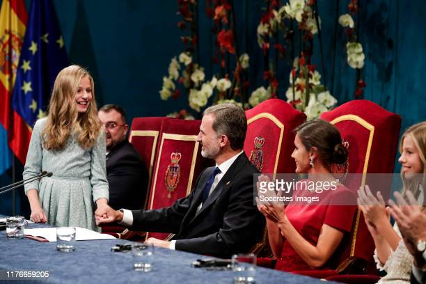 Princess Leonor of Spain, King Felipe VI of Spain, Queen Letizia of Spain, Princess Leonor of Spain during the Asturias Awards on October 18, 2019 in...