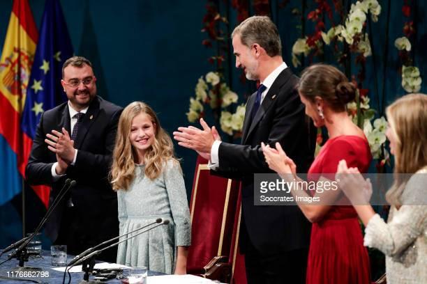 Princess Leonor of Spain, King Felipe VI of Spain, Queen Letizia of Spain during the Asturias Awards on October 18, 2019 in Oviedo Spain