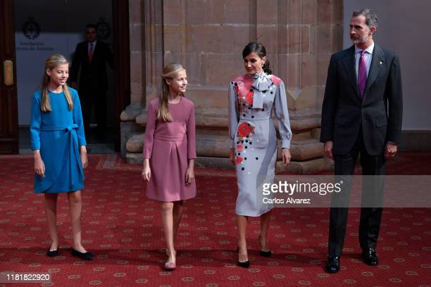 Princess Leonor of Spain , King Felipe VI of Spain , Queen Letizia of Spain and Princess Sofia of Spain attend several audiences to congratulate the...