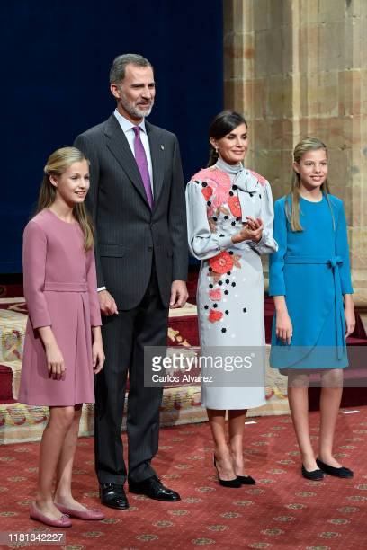 Princess Leonor of Spain, King Felipe VI of Spain, Queen Letizia of Spain and Princess Sofia of Spain attend several audiences to congratulate the...