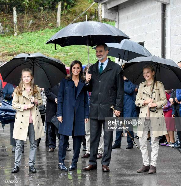 Princess Leonor of Spain , King Felipe VI of Spain, Queen Letizia of Spain and Princess Sofia of Spain visit Asiegu, which has been honoured as the...
