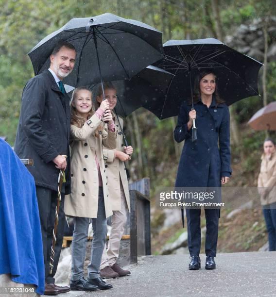 Princess Leonor of Spain , King Felipe VI of Spain , Queen Letizia of Spain and Princess Sofia of Spain visit Asiegu,, which has been honoured as the...