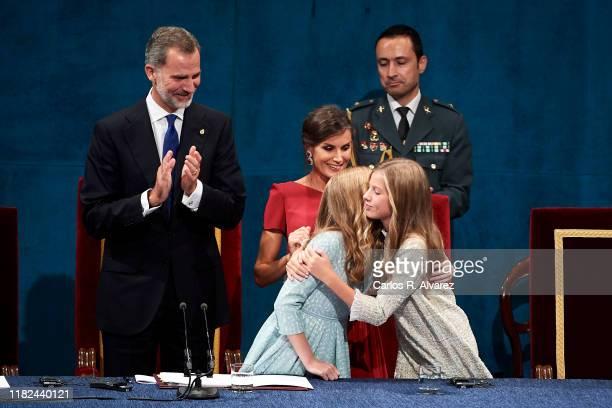 Princess Leonor of Spain , King Felipe VI of Spain, Queen Letizia of Spain and Princess Sofia of Spain attend the Princesa de Asturias Awards 2019...