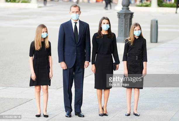Princess Leonor of Spain, King Felipe VI of Spain, Queen Letizia of Spain and Princess Sofia of Spain arrives to a mass to tribute the victims for...
