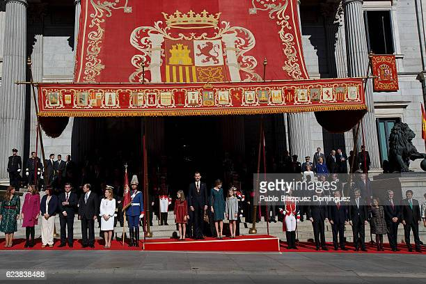 Princess Leonor of Spain King Felipe VI of Spain Queen Letizia of Spain and Princess Sofia of Spain prepare to watch the military parade amid the...