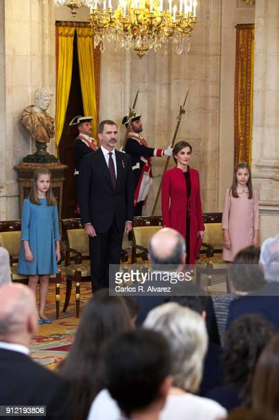 Princess Leonor of Spain King Felipe VI of Spain Queen Letizia of Spain and Princess Sofia of Spain attend the Order of Golden Fleece ceremony at the...