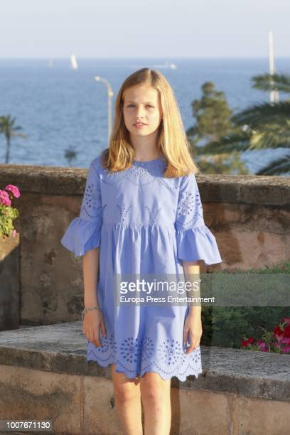 Princess Leonor of Spain poses for the photographers during the summer session at the Almudaina Palace on July 29 2018 in Palma de Mallorca Spain