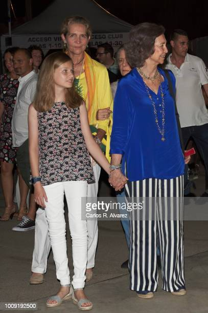 Princess Leonor of Spain Princess Elena and Queen Sofia attend Ara Malikian concert at Port Adriano on August 1 2018 in Palma de Mallorca Spain